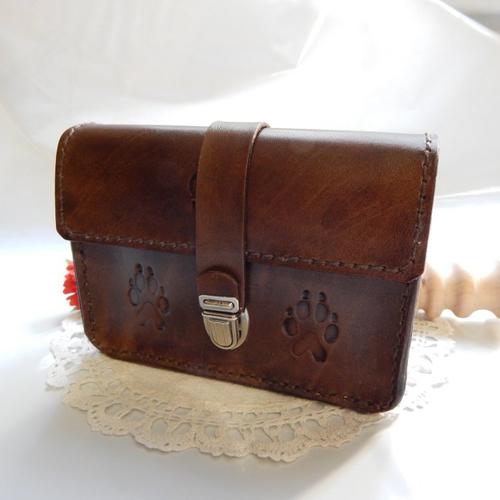 Porte monnaie cartable en cuir