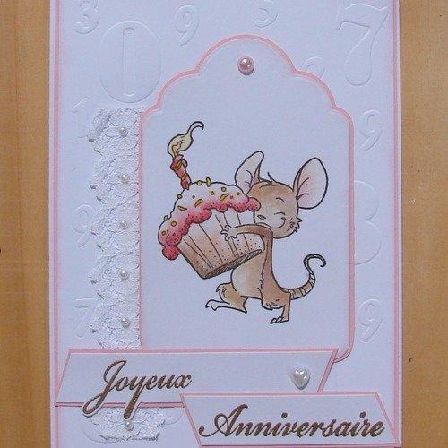 Carte Joyeux Anniversaire Rose Et Blanche Tampon Petite Souris Dentelle Demi Perles Un Grand Marche