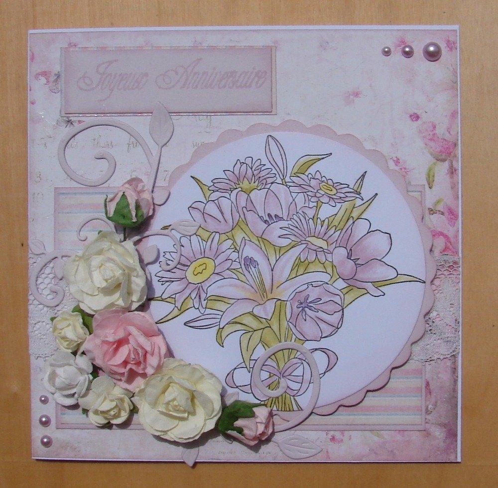 """carte shabby  """"Joyeux Anniversaire"""" bouquet fleurs arabesques dentelle demi-perles"""