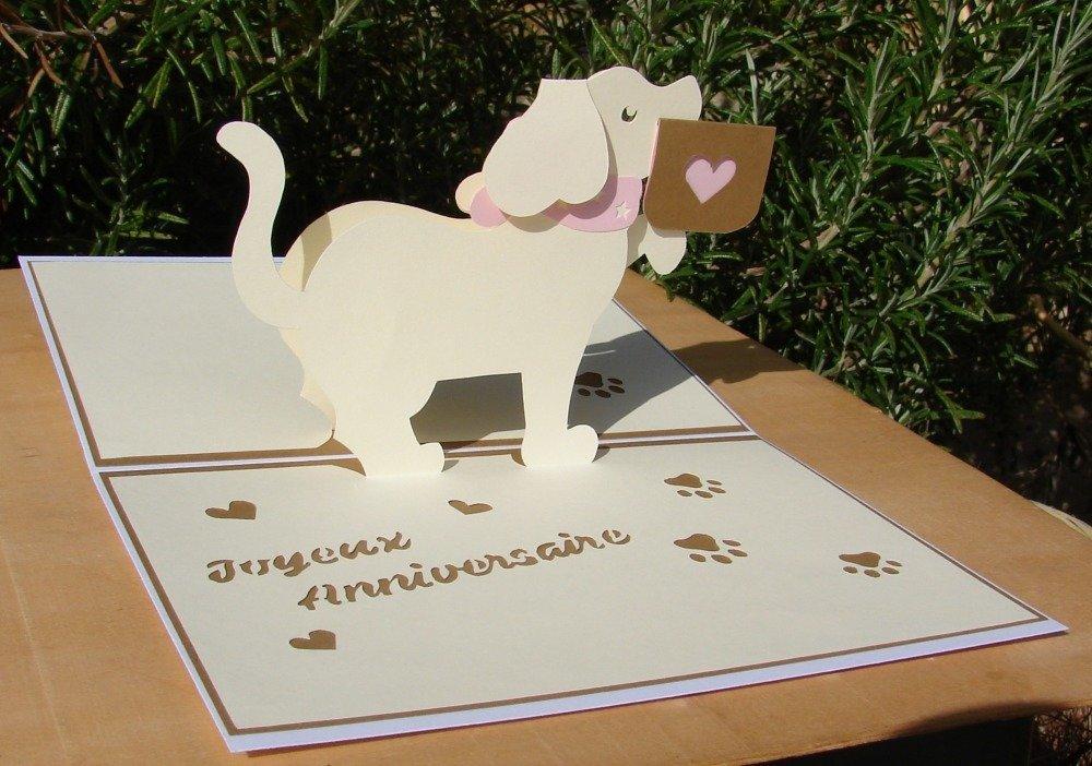 Carte Kirigami Joyeux Anniversaire Petit Chien Marron Beige Et Rose Ruban Bouton Demi Perles Un Grand Marche