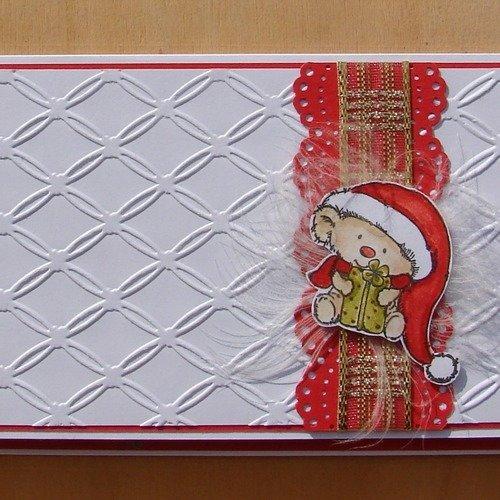 """Carte pochette cadeau porte billet ou chèque rouge et blanche ourson """"merry christmas"""""""