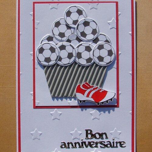 Carte Anniversaire Cup Cake Ballons Foot Chaussure De Foot Rouge Et Blanche Bon Anniversaire Un Grand Marche