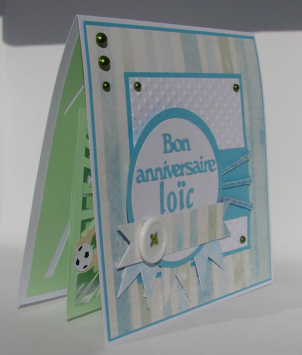 carte personnalisée kirigami joueur foot, bon anniversaire Loïc