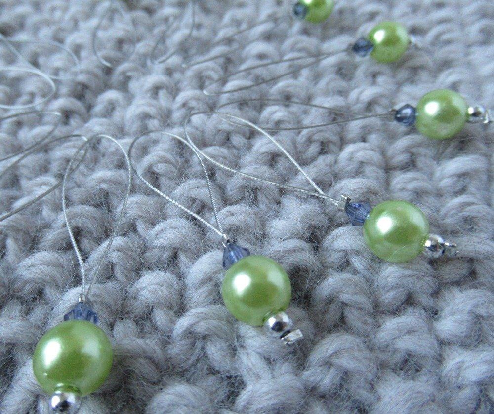 Lot de 6 anneaux marqueurs pour tricot perles en vert et bleu