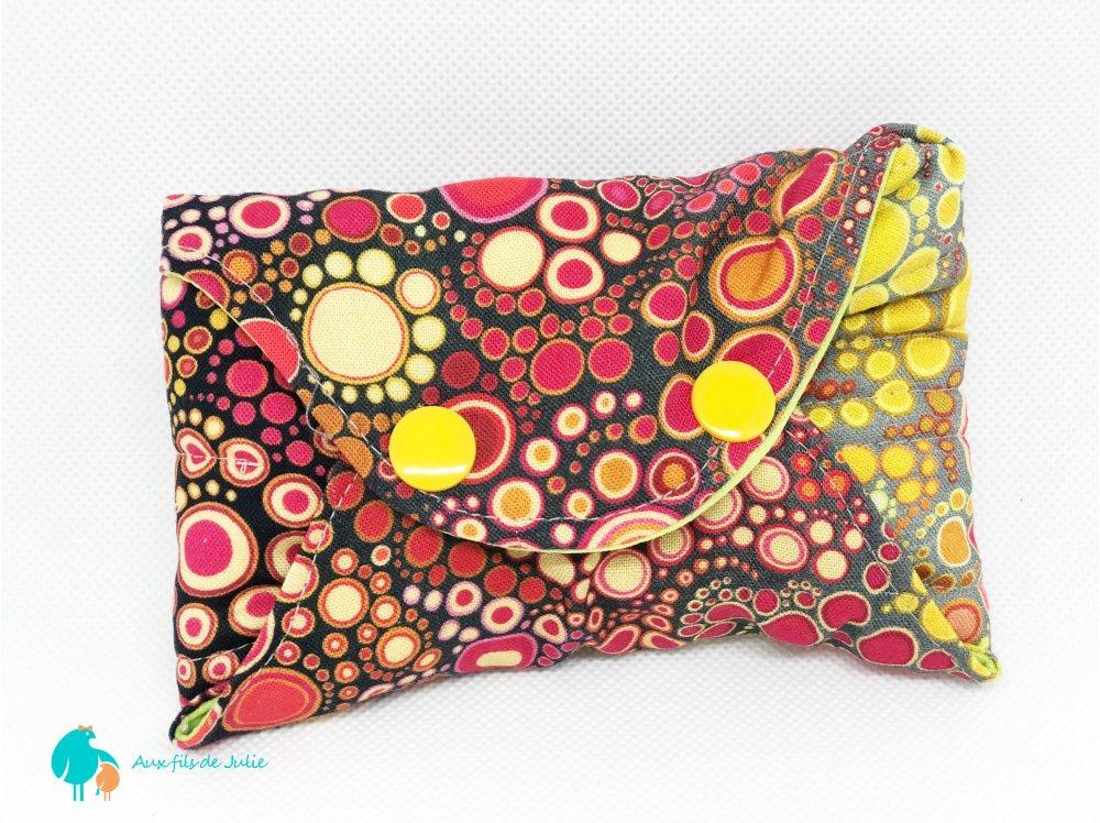 serviette hygiénique lavable flux abondant/ de nuit motif bulles jaunes et rouges