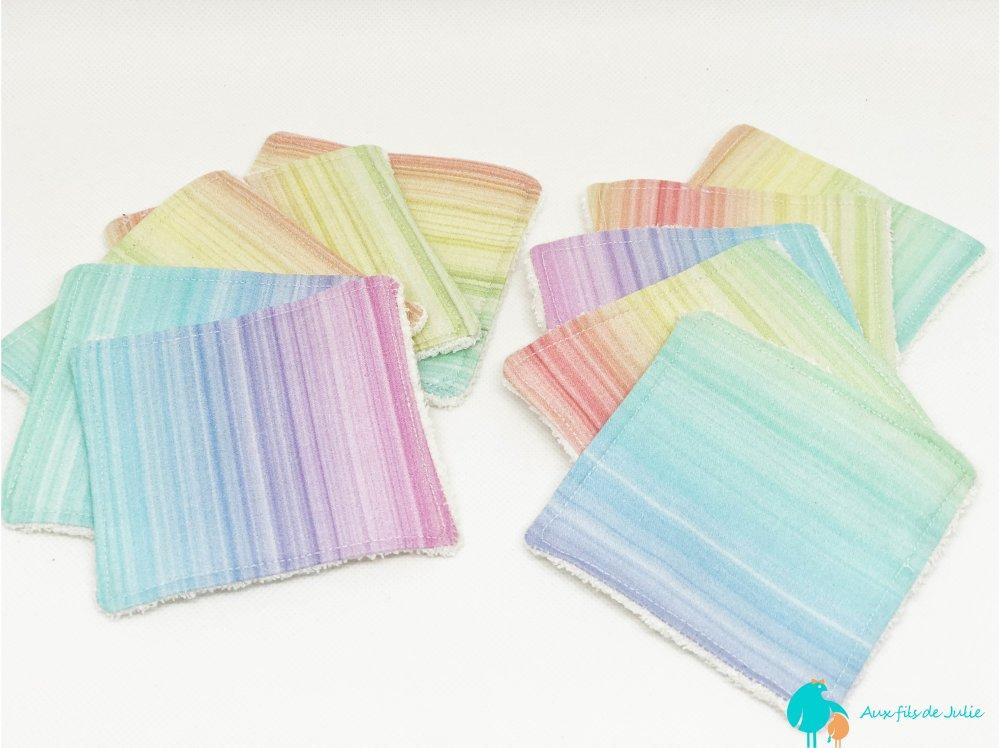 10 carrés démaquillants multicolores