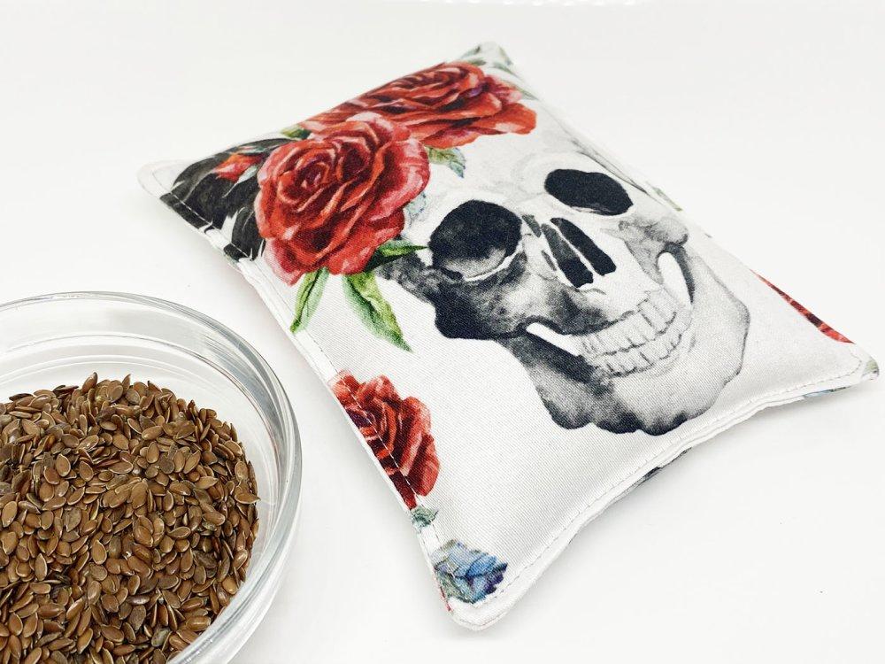 bouillotte sèche, thème tête de mort fleurie