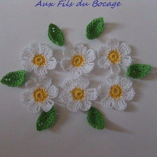 Fleurs au crochet en coton, jaune et blanc, appliques *3*