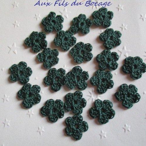 Fleurs au crochet, 2 cm, lot de 20, en coton vert, appliques *143*