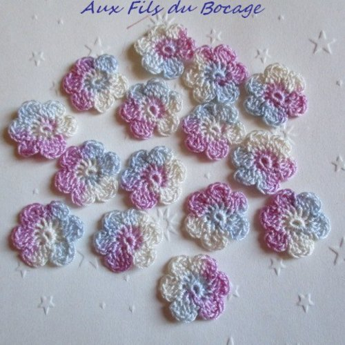 Fleurs au crochet, lot de 15  en coton multicolore, 2.5 cm, appliques,  *161*
