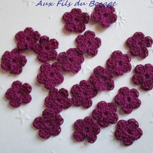 Fleurs au crochet, 2 cm, lot de 20, en coton framboise, appliques *166*