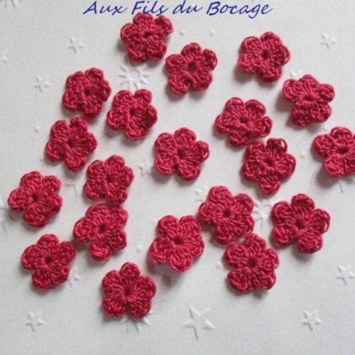 Fleurs au crochet, 2 cm, lot de 20, en coton rose, appliques *174*