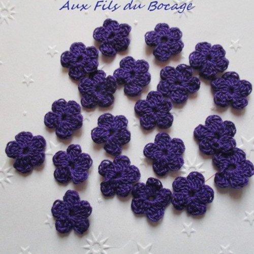 Fleurs au crochet, 2 cm, lot de 20, en coton violet, appliques *175*