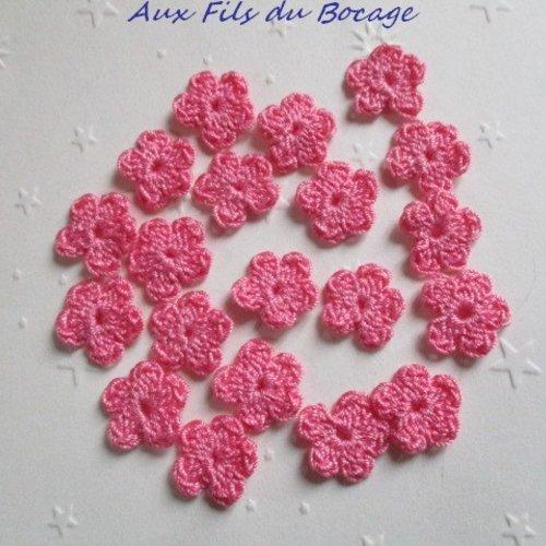 Fleurs au crochet, 2 cm, lot de 20, en coton rose, appliques *183*