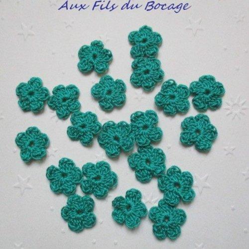 Fleurs au crochet, 2 cm, lot de 20, en coton vert émeraude, appliques *185*