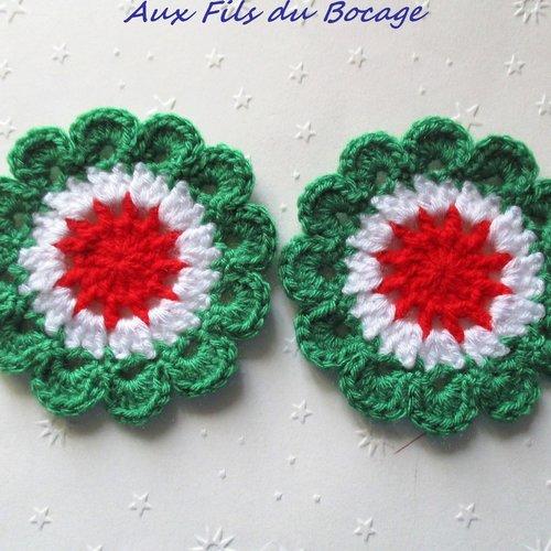 Fleurs colorées au crochet en laine 8 cm, appliques, fait main.*221*
