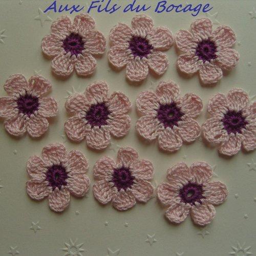 Fleurs au crochet, appliques, lot de 10, rose pâle et violet *216*