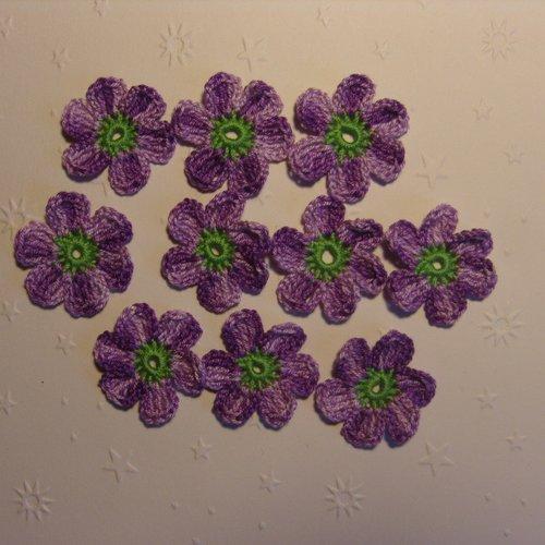 Fleurs au crochet, appliques, lot de 10, voilet dégradé et vert  *265*