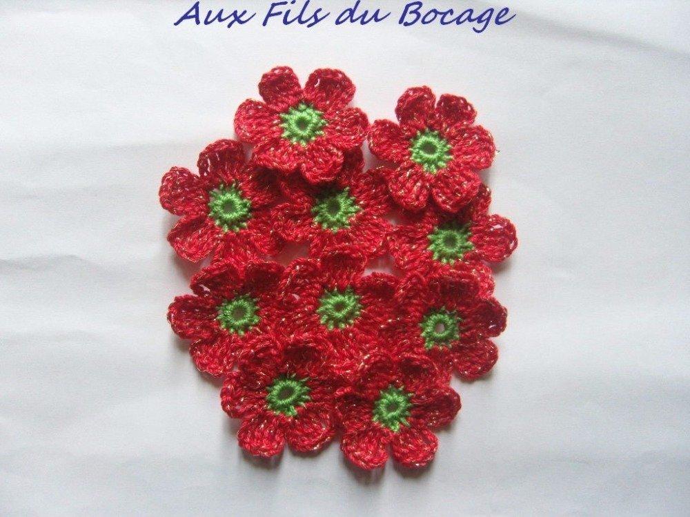 Fleurs au crochet, appliques, lot de 10, rouge et verte, appliques *31*