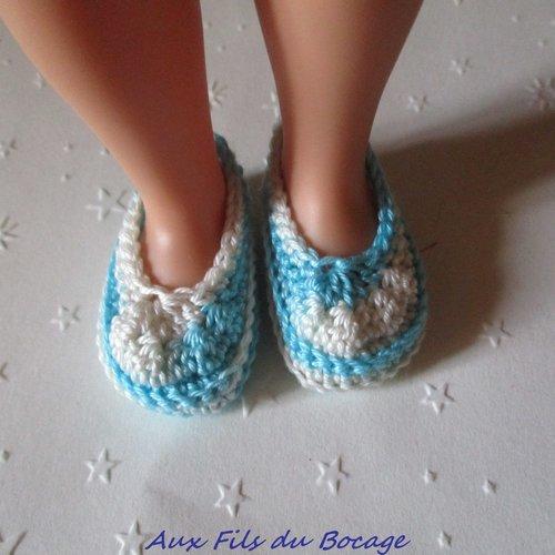 Chaussures poupée les chéries, coton turquoise blanc