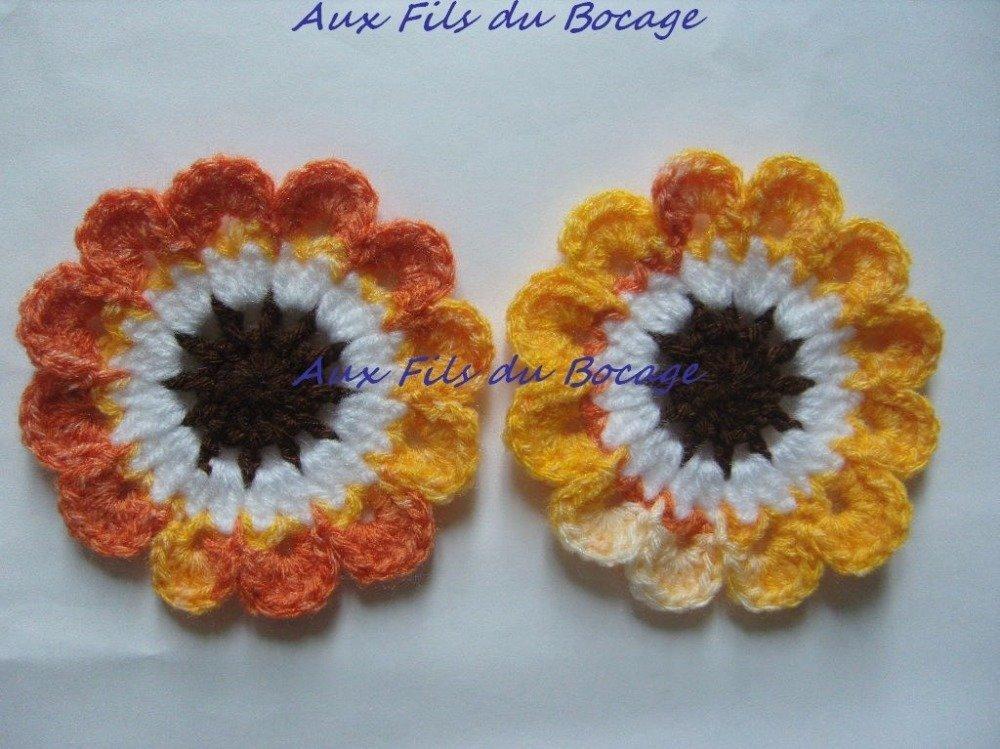 Fleur colorée, lot de 2, au crochet en laine 8 cm *19*