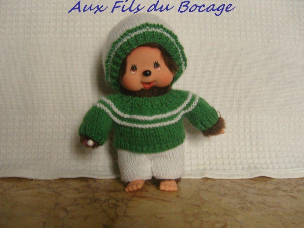 Habits Kiki 20 cm, pull, pantalon et bonnet vert et blanc