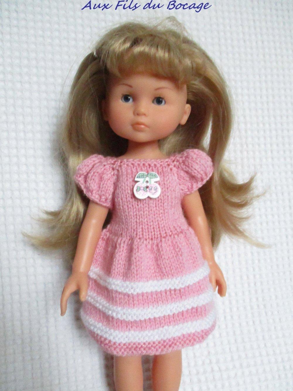 Habits Les Chéries de Corolle, robe rose et blanche