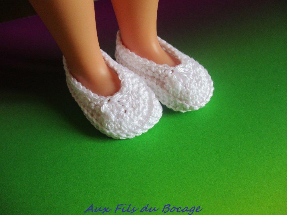 Chaussures poupée Les Chéries, coton blanc