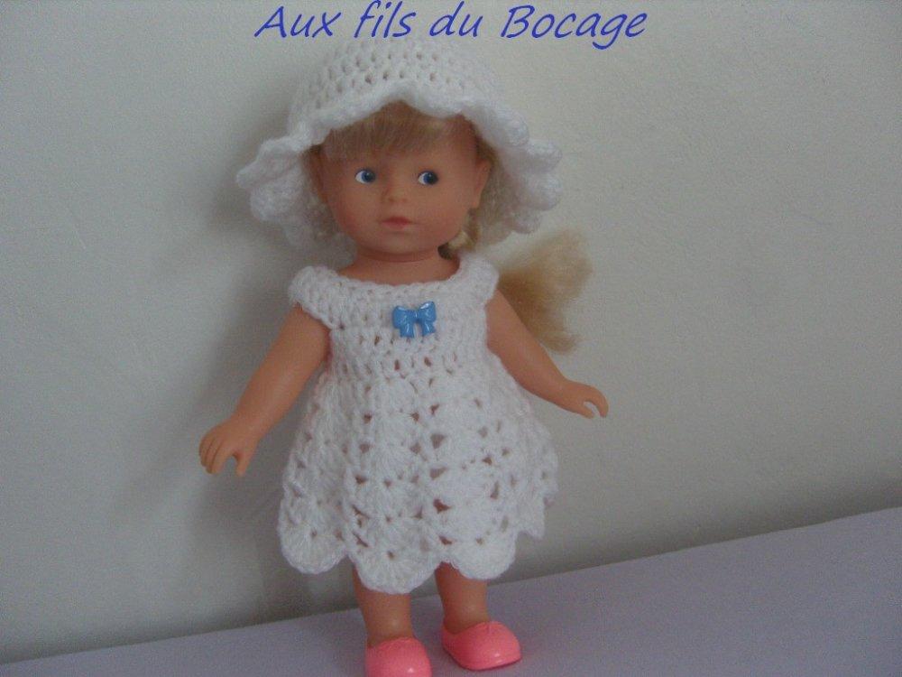 Habit poupée 20 cm, robe et chapeau au crochet pour mini corolline