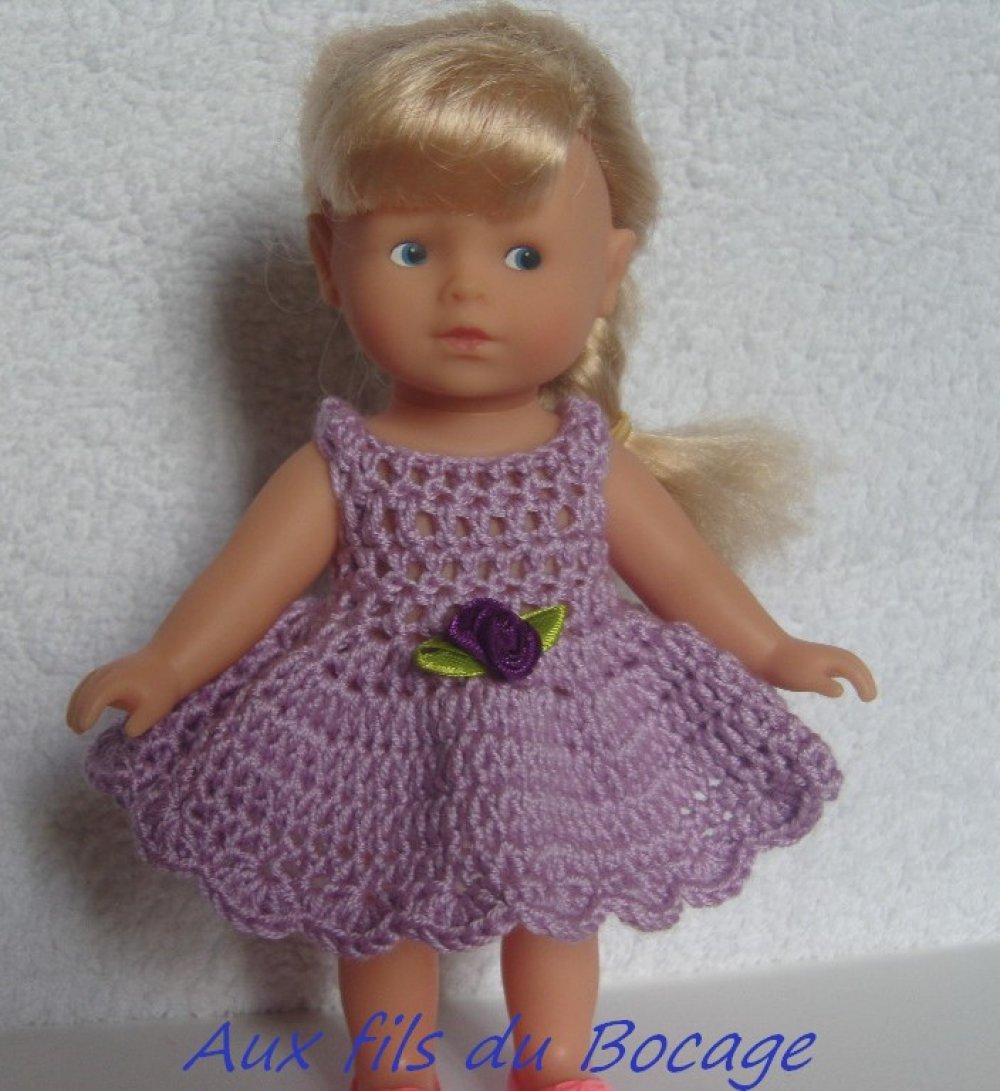 Habit poupée 20 cm, robe au crochet pour mini corolline
