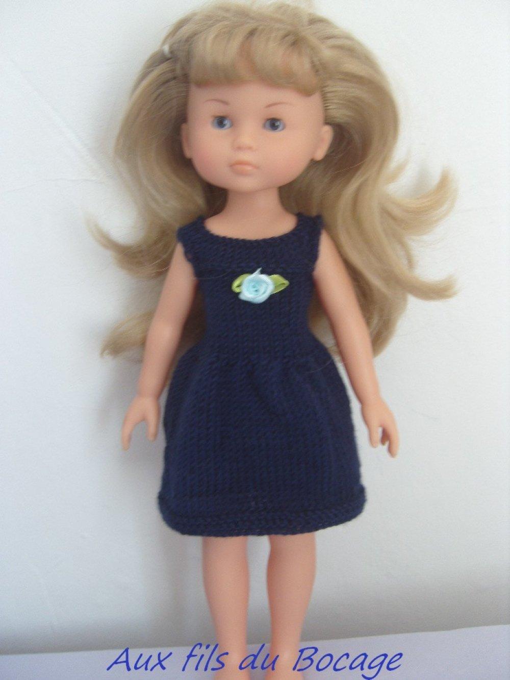 Vêtement pour poupée Les Chéries, robe bleue marine au tricot