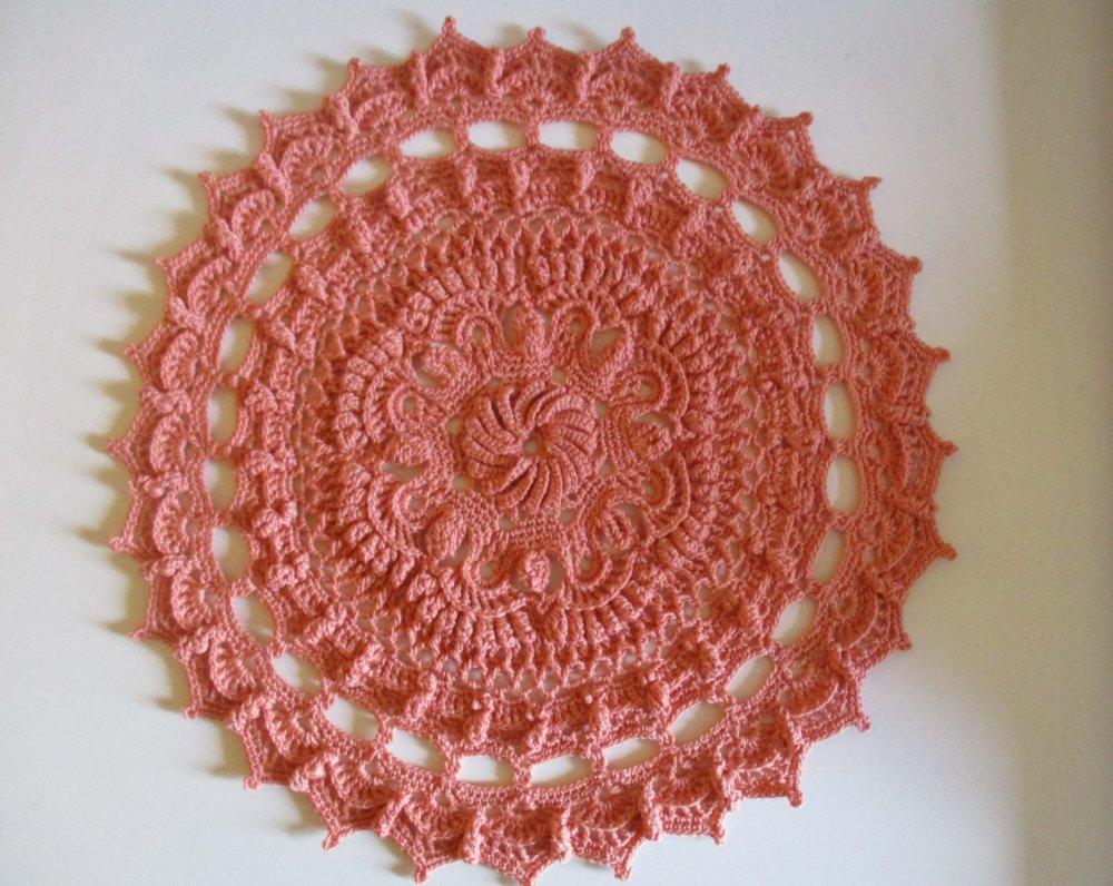 Napperon au crochet en coton rose saumon, 27 cm