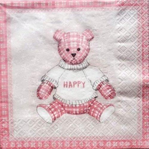 """Serviette en papier ourson rose """"happy"""" #e002u"""