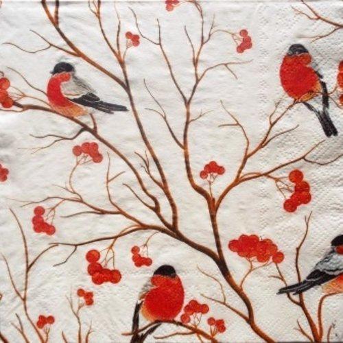 Serviette en papier oiseaux bouvreuils sur les branches #an002u
