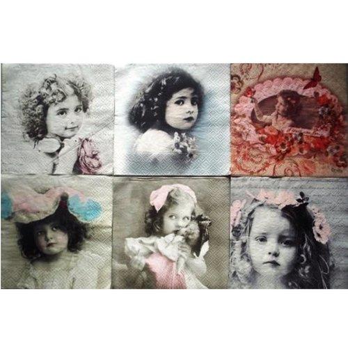 Lot de 6 serviette en papier portraits d'enfants #lotd04u