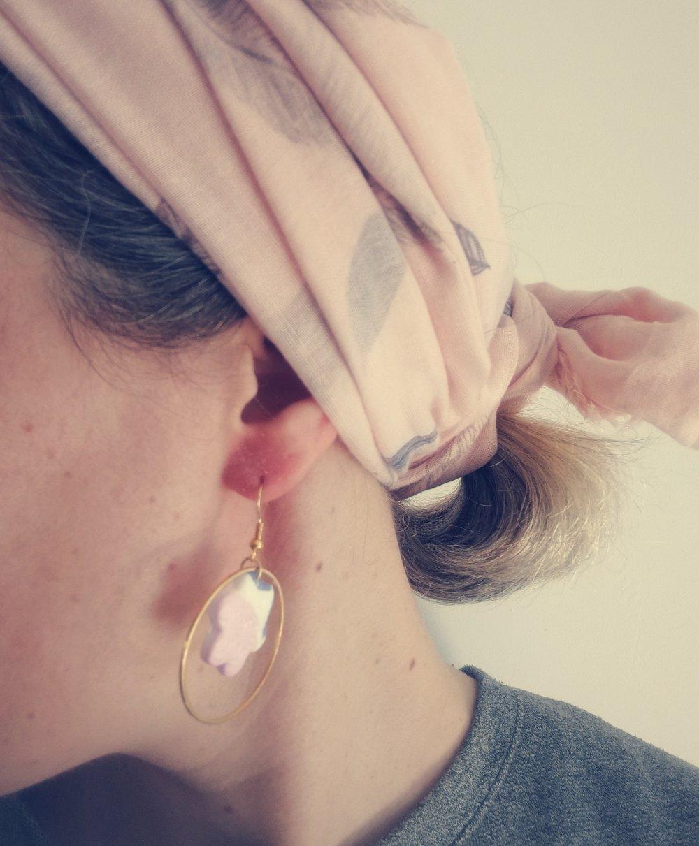 Boucles d'oreilles anneaux et FIMO