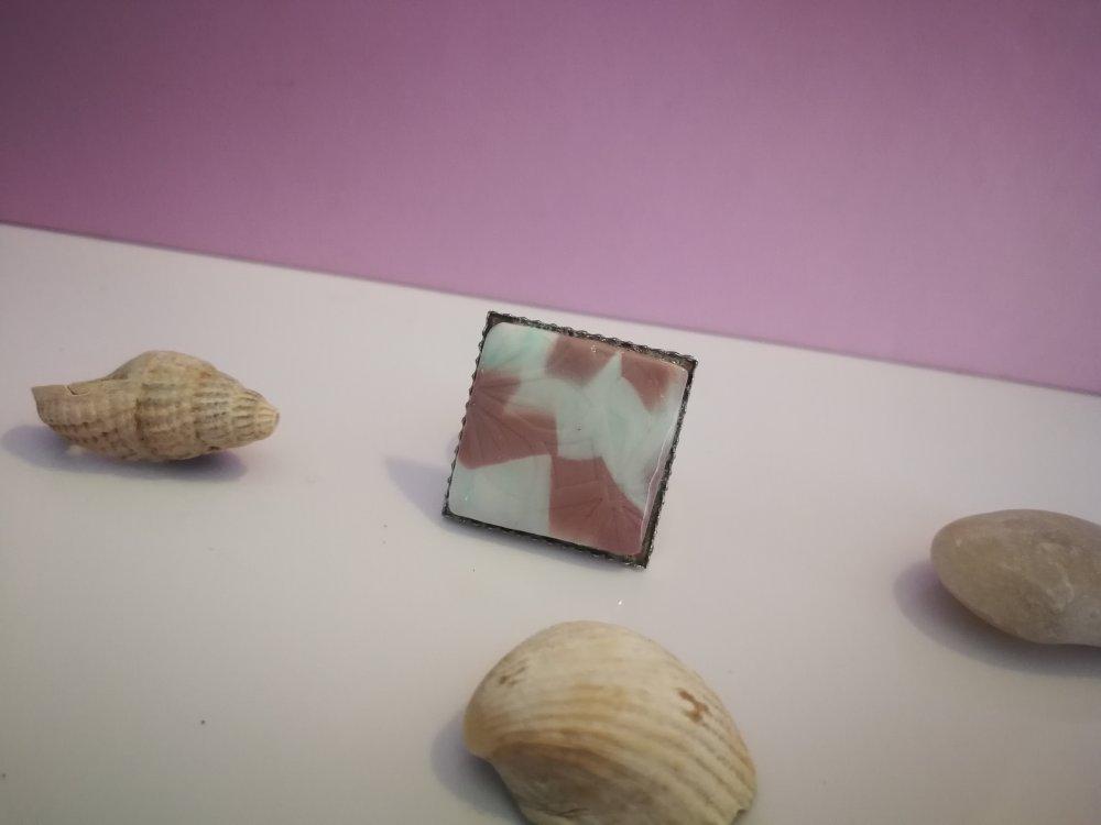 Bague FIMO pastel carré