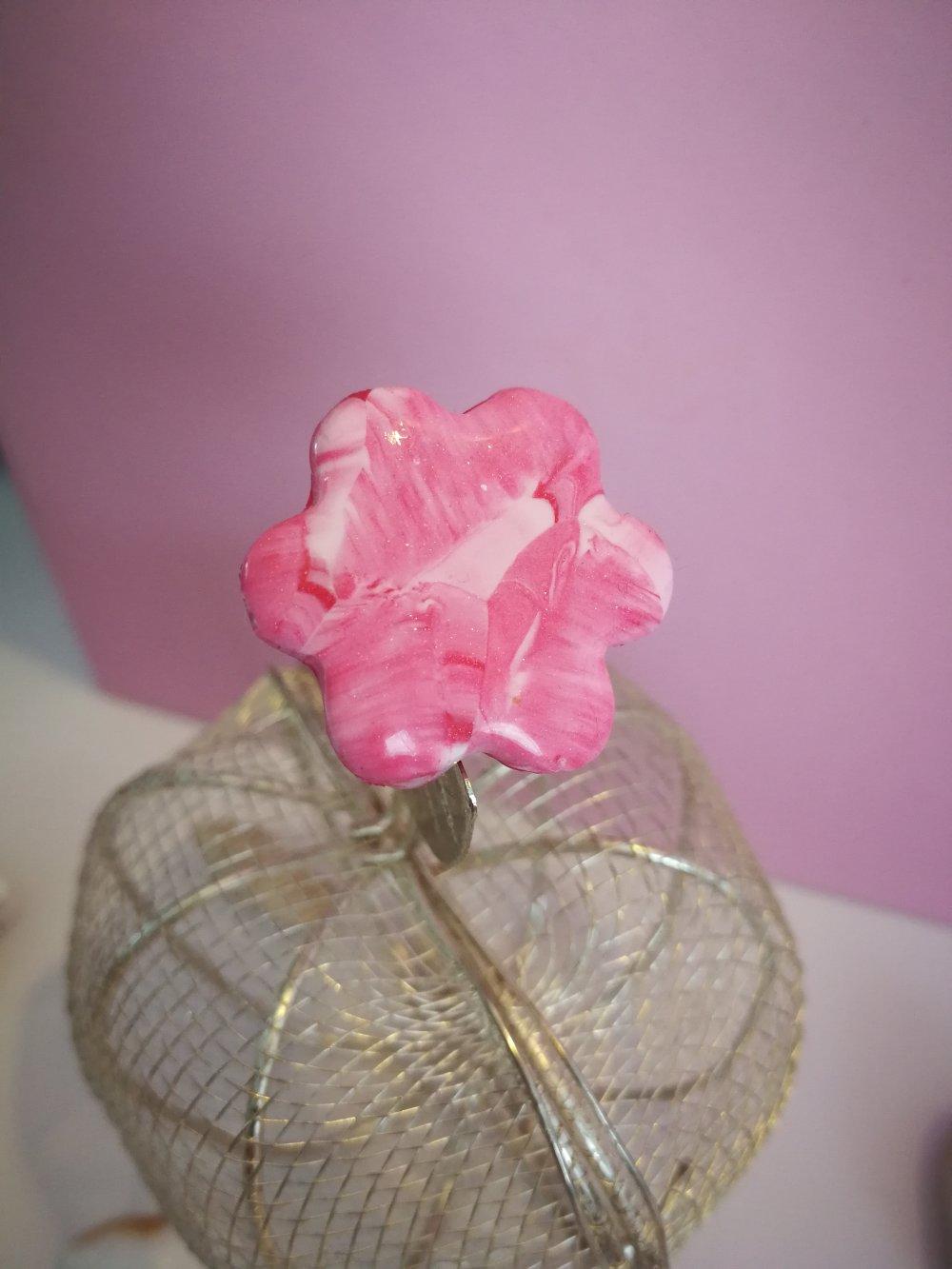 Bague fleur fimo rose
