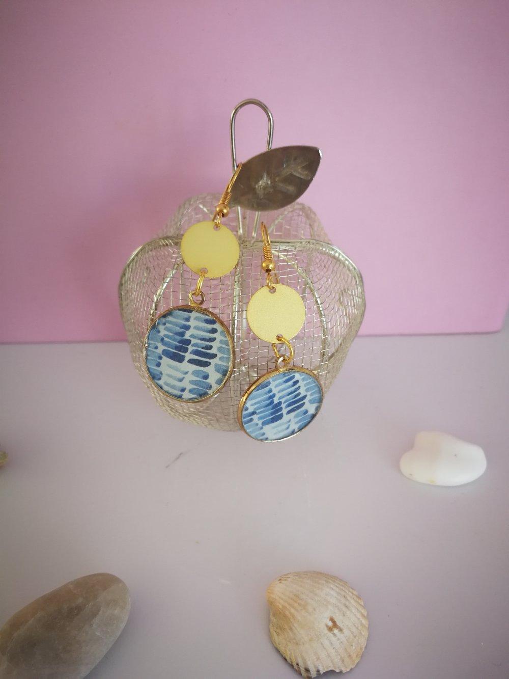 Boucles d'oreilles bleues et or