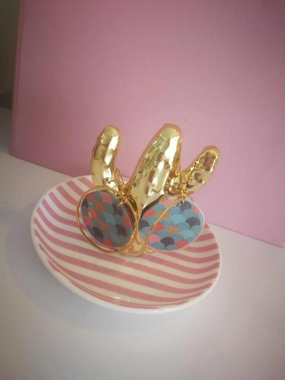 Boucles d'oreilles papier et anneau