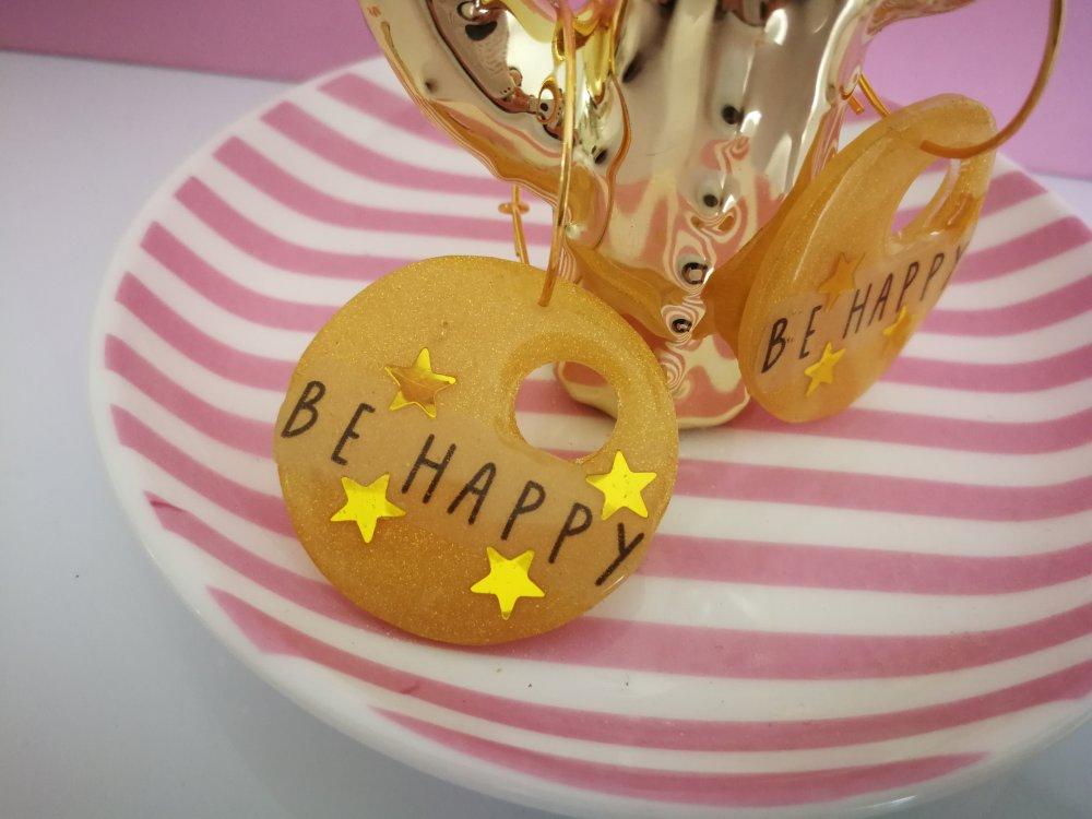 Boucles d'oreilles BE HAPPY créoles etoilées