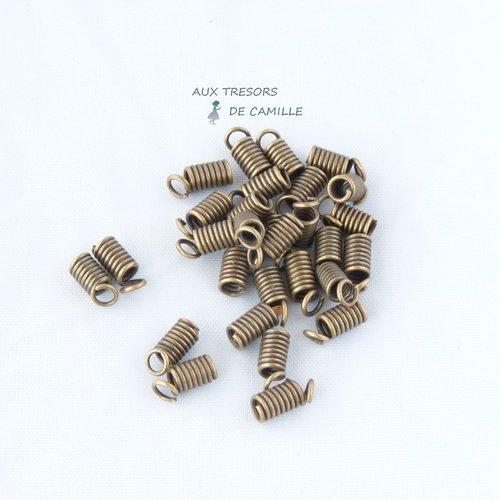 100 embouts ressorts en métal bronze pour cordon