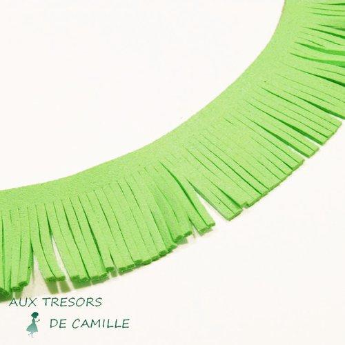 20 cm galon frange suédine verte claire pour création pompons 30 mm