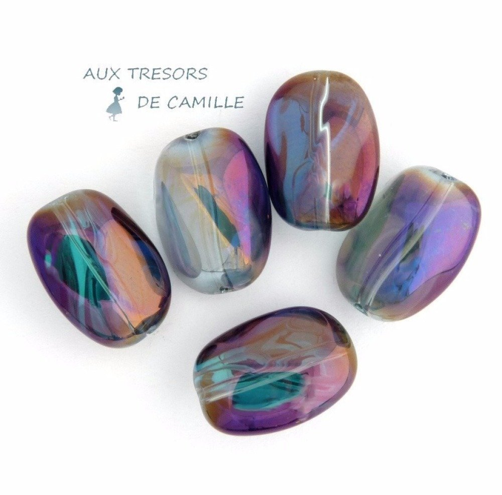 5 Perles en Verre Violettes/Transparentes AB 15 mm