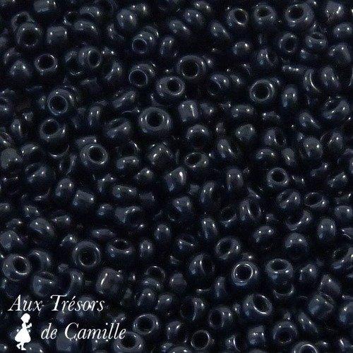 20 grs de Perles de rocailles Jet Hématite Lustrée