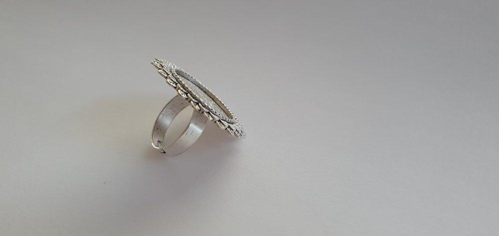 Support Bague réglable pour Cabochon Rond de 20 mm en métal argenté antique effet feuille