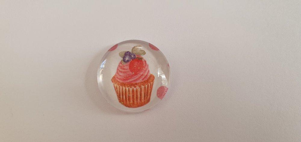 """Cabochon Rond 20 mm """"Cupcake"""", en Verre dans les tons de Rose,Marron Clair, Vert, Violet, Rouge sur fond Blanc"""