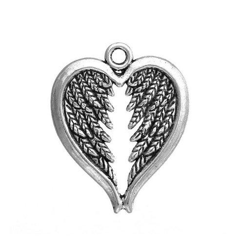 8 breloques ailes d'ange argent vieilli
