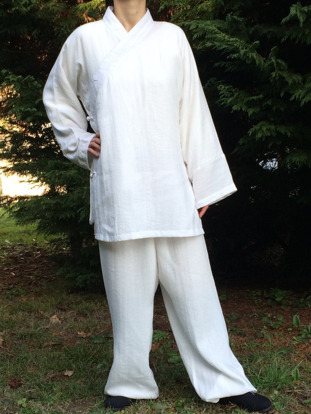 Ensemble blanc, vêtements Tai Chi Chuan, Qi Gong, Kung Fu Homme ou Femme