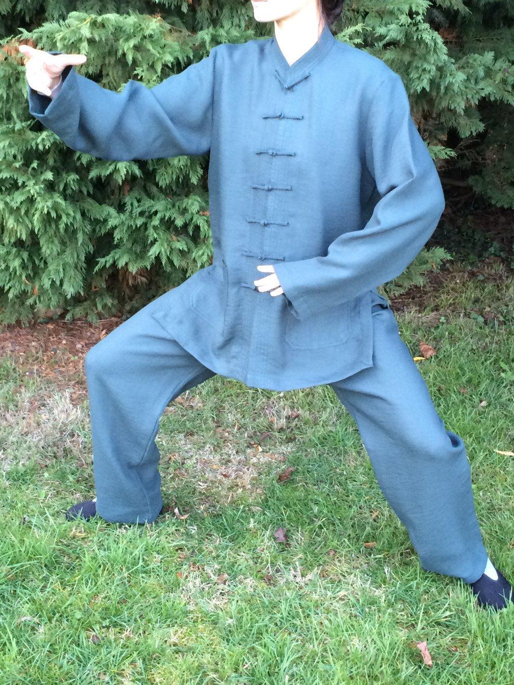 Vêtements Tai Chi Chuan, Qi Gong, Kung Fu. Ensemble mixte vert sapin